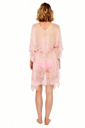 Lotty B Short Kaftan in Silk Chiffon (Spiderlily Peach Pink) Back