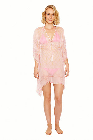 Lotty B Short Kaftan in Silk Chiffon (Spiderlily Peach Pink) Front