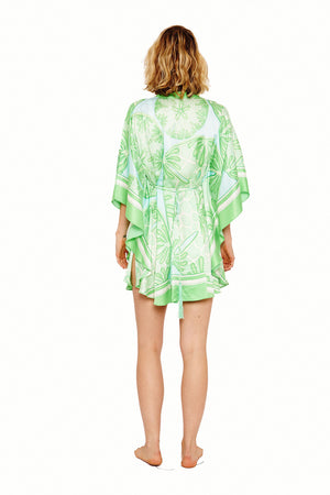 Lotty B Short Kaftan in Silk Crepe-de-Chine (Sand Dollar Green) Back