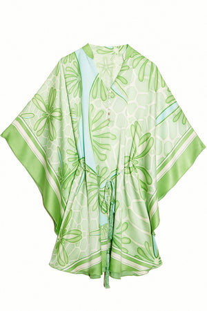 Lotty B Short Kaftan in Silk Crepe-de-Chine (Sand Dollar Green)
