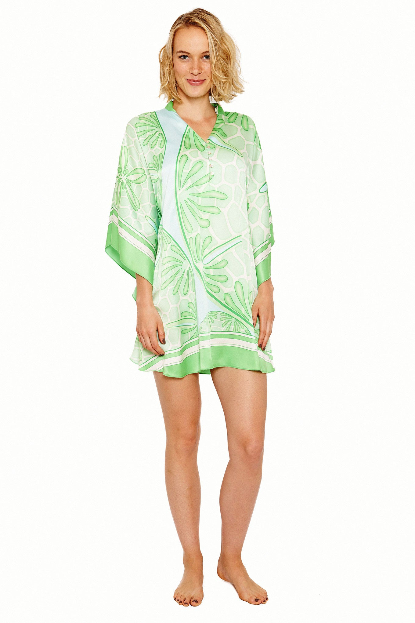 Lotty B Short Kaftan in Silk Crepe-de-Chine (Sand Dollar Green) Front
