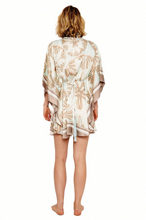 Lotty B Short Kaftan in Silk Crepe-de-Chine (Sand Dollar Taupe) Back