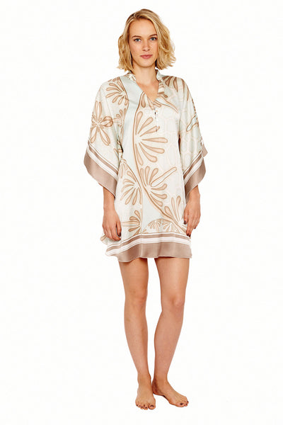 Lotty B Short Kaftan in Silk Crepe-de-Chine (Sand Dollar Taupe) Front