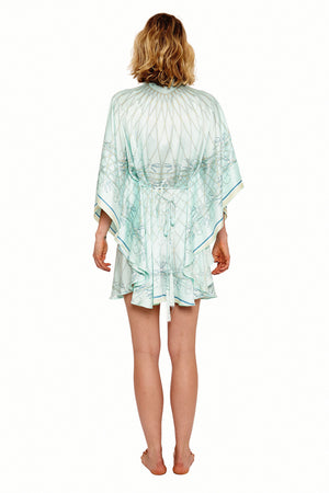 Lotty B Short Kaftan in Silk Crepe-de-Chine (Spiderlily Pale Blue) Back