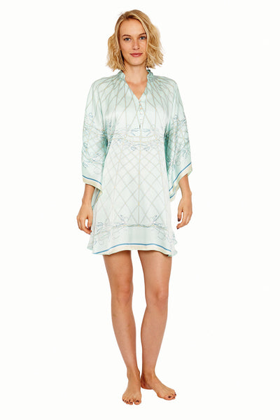 Lotty B Short Kaftan in Silk Crepe-de-Chine (Spiderlily Pale Blue) Front