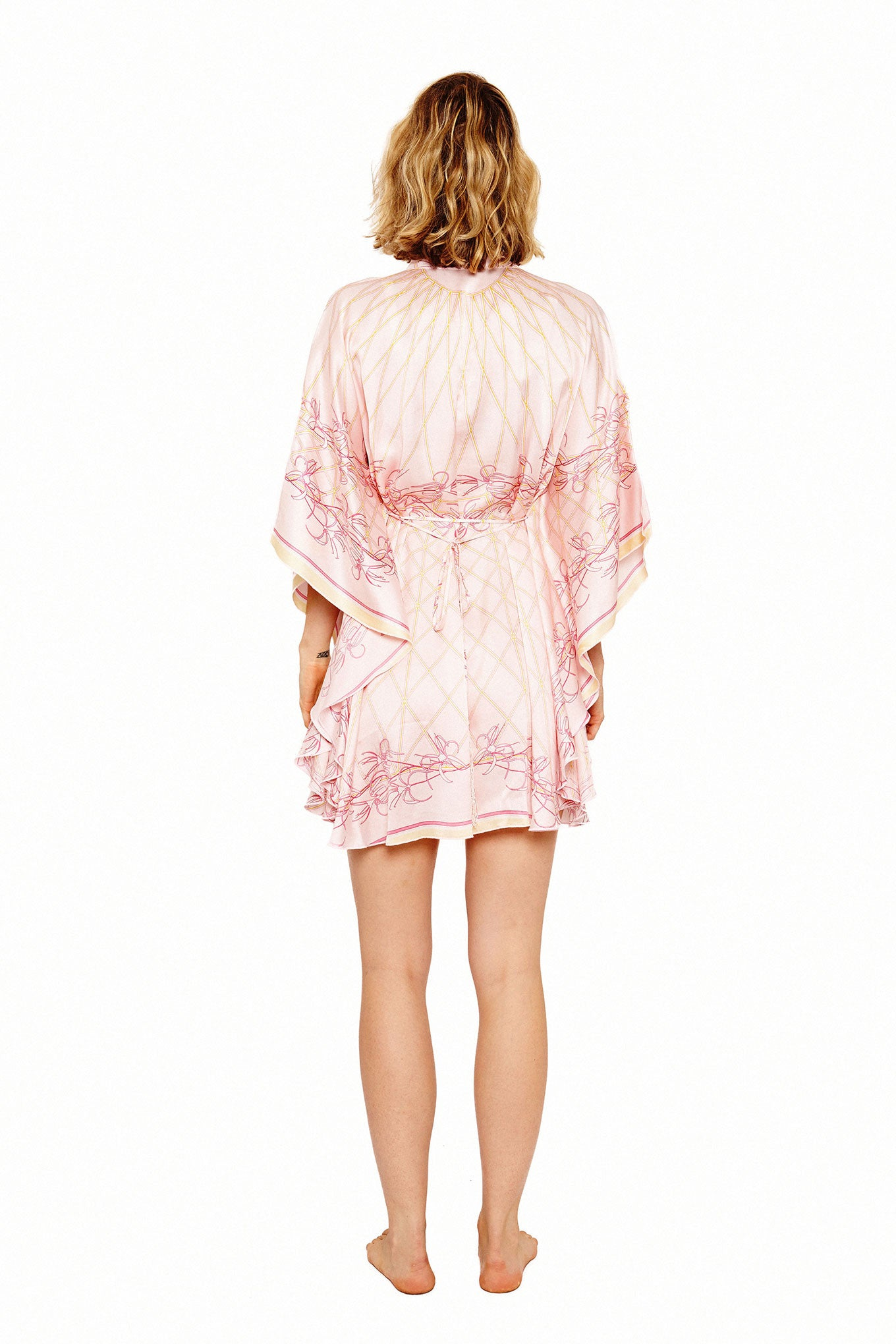 Lotty B Short Kaftan in Silk Crepe-de-Chine (Spiderlily Peach Pink) Back