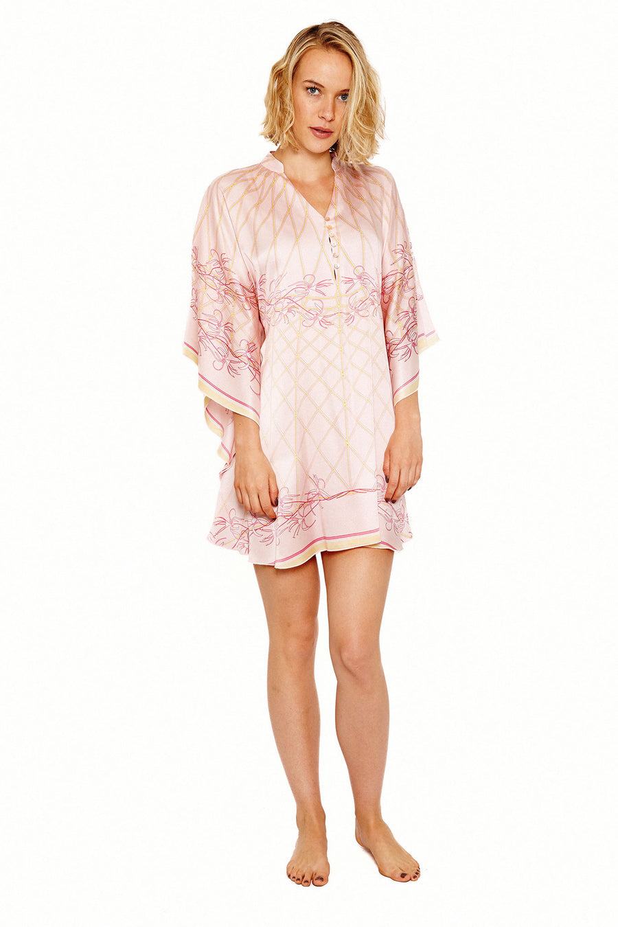 Lotty B Short Kaftan in Silk Crepe-de-Chine (Spiderlily Peach Pink)