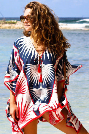 Lotty B Short Kaftan in Silk Crepe-de-Chine: FAN PALM - NAVY / RED Caribbean Summer Style