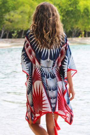 Lotty B Short Kaftan in Silk Crepe-de-Chine: FAN PALM - NAVY / RED Mustique beaches