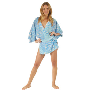 Womens pure silk kimono robe designer Lotty B Mustique luxury resort wear