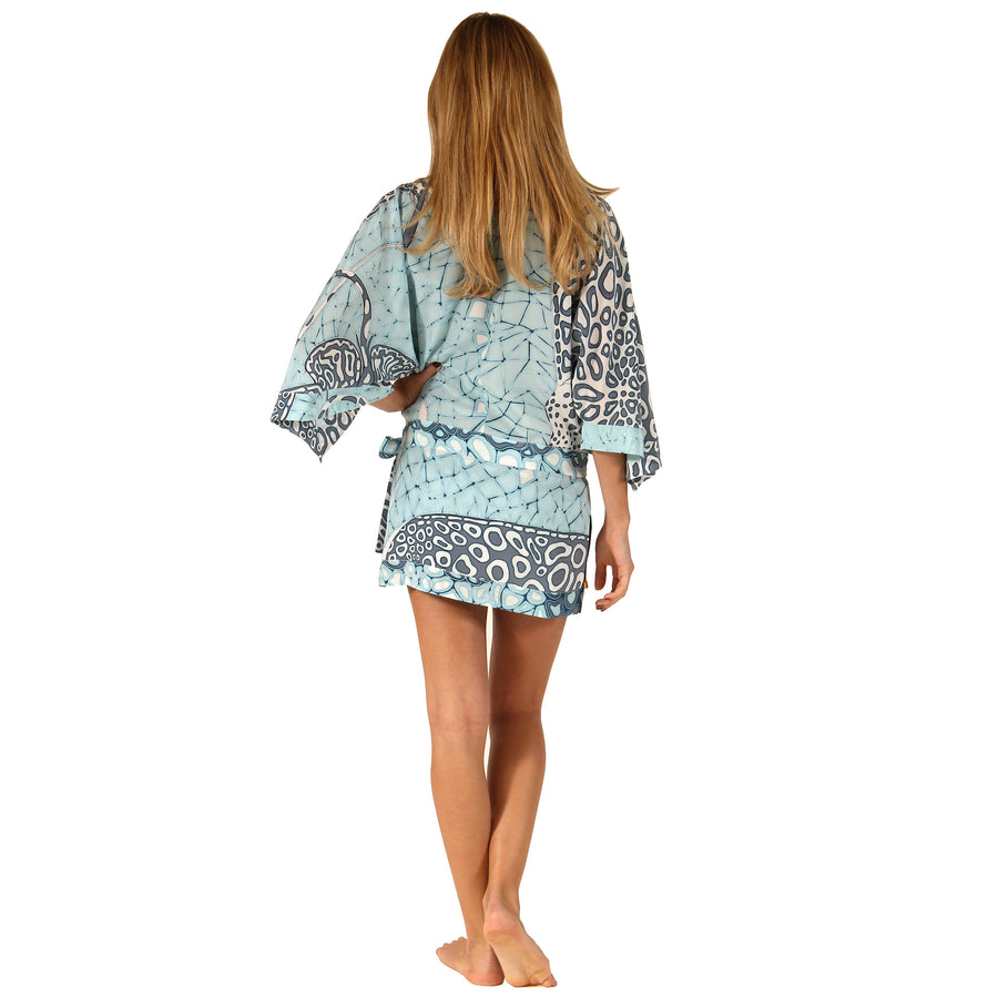Womens pure silk kimono robe Ray print in grey designer Lotty B Mustique luxury resort wear