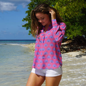 Lotty B Silk Crepe-de-Chine Blouse: SINGLE PALM REPEAT - PINK / BLUE luxury silk beach wear