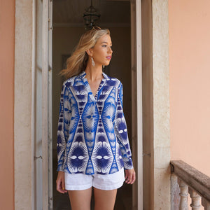 Lotty B Silk Crepe-de-Chine Blouse: FAN PALM REPEAT - BLUE & WHITE Mustique easy living