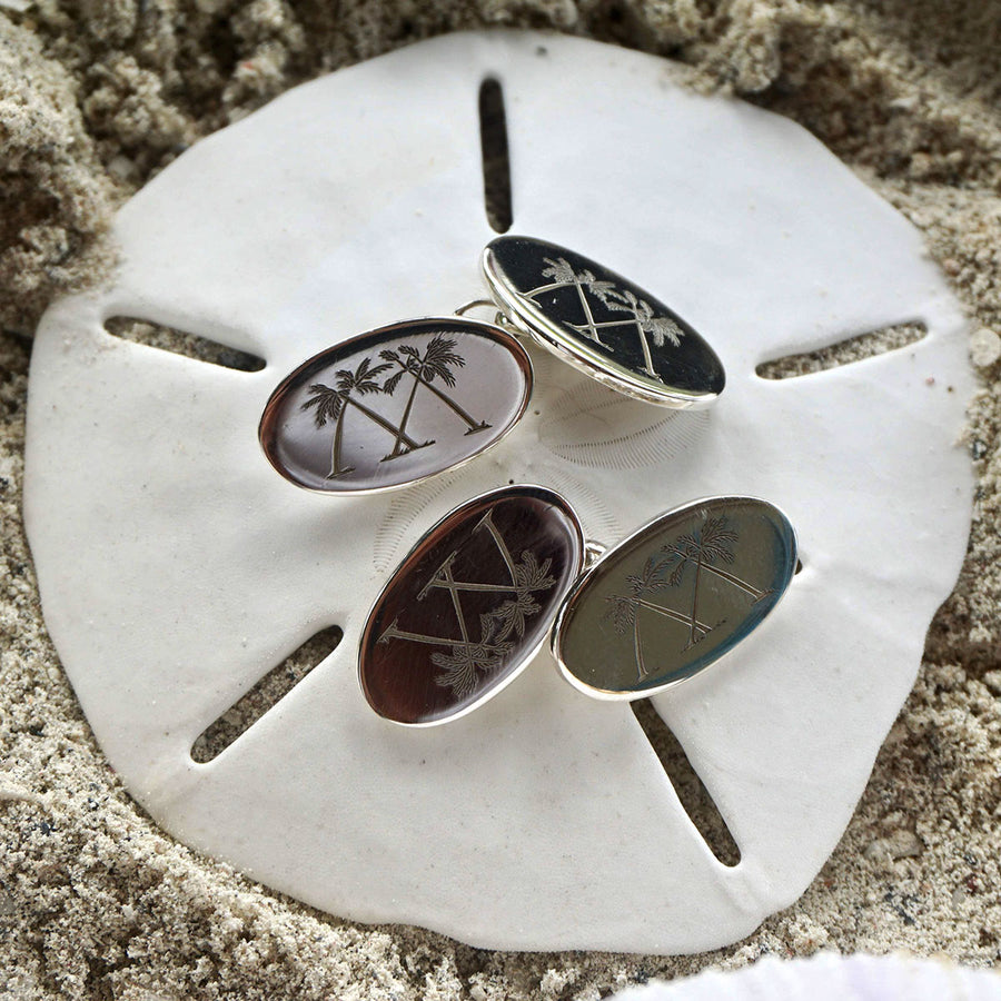 Sterling Silver Oval Mustique Cufflinks - close detail