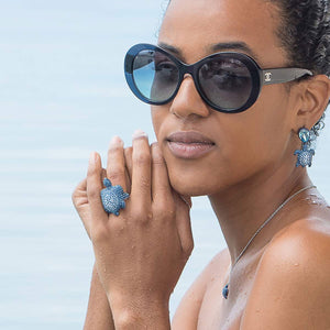 MUSTIQUE SEA LIFE TURTLE Collaboration by Catherine Prevost with Atelier Swarovski in aid of St Vincent and the Grenadines environment fund: Large Blue Turtle Ring available at The Pink House Mustique
