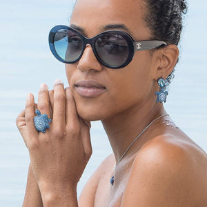 MUSTIQUE SEA LIFE TURTLE Collaboration by Catherine Prevost with Atelier Swarovski in aid of St Vincent and the Grenadines environment fund: Blue Turtle Drop Earrings available at The Pink House Mustique