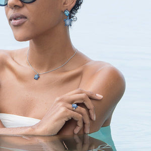 MUSTIQUE SEA LIFE TURTLE Collaboration by Catherine Prevost with Atelier Swarovski in aid of St Vincent and the Grenadines environment fund: Blue Turtle Pendant Necklace available at The Pink House Mustique