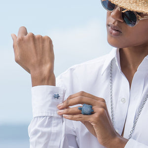 ATELIER SWAROVSKI CUFFLINKS: MUSTIQUE SEA LIFE TURTLE - BLUE designed by Catherine Prevost available at Pink House Mustique