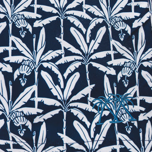 BANANA TREE - NAVY premium swim fabric swatch designer Lotty B