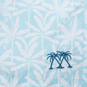 BANANA TREE - PALE BLUE premium swim fabric swatch designer Lotty B
