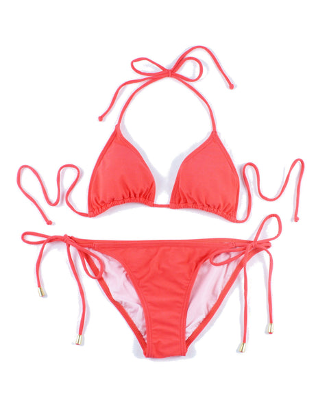 Womens Plain Colour Bikinis (Orange)