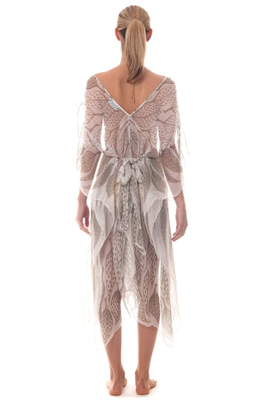 Lotty B ¾ Length Kaftan ~ Leaves (Lichen) Back