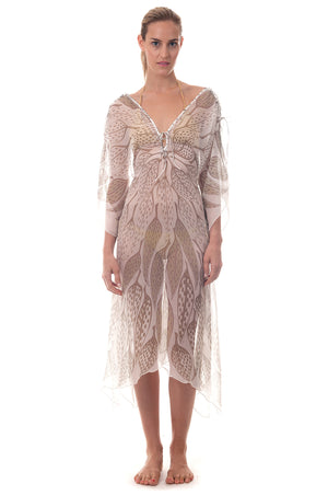 Lotty B ¾ Length Kaftan ~ Leaves (Lichen) Front