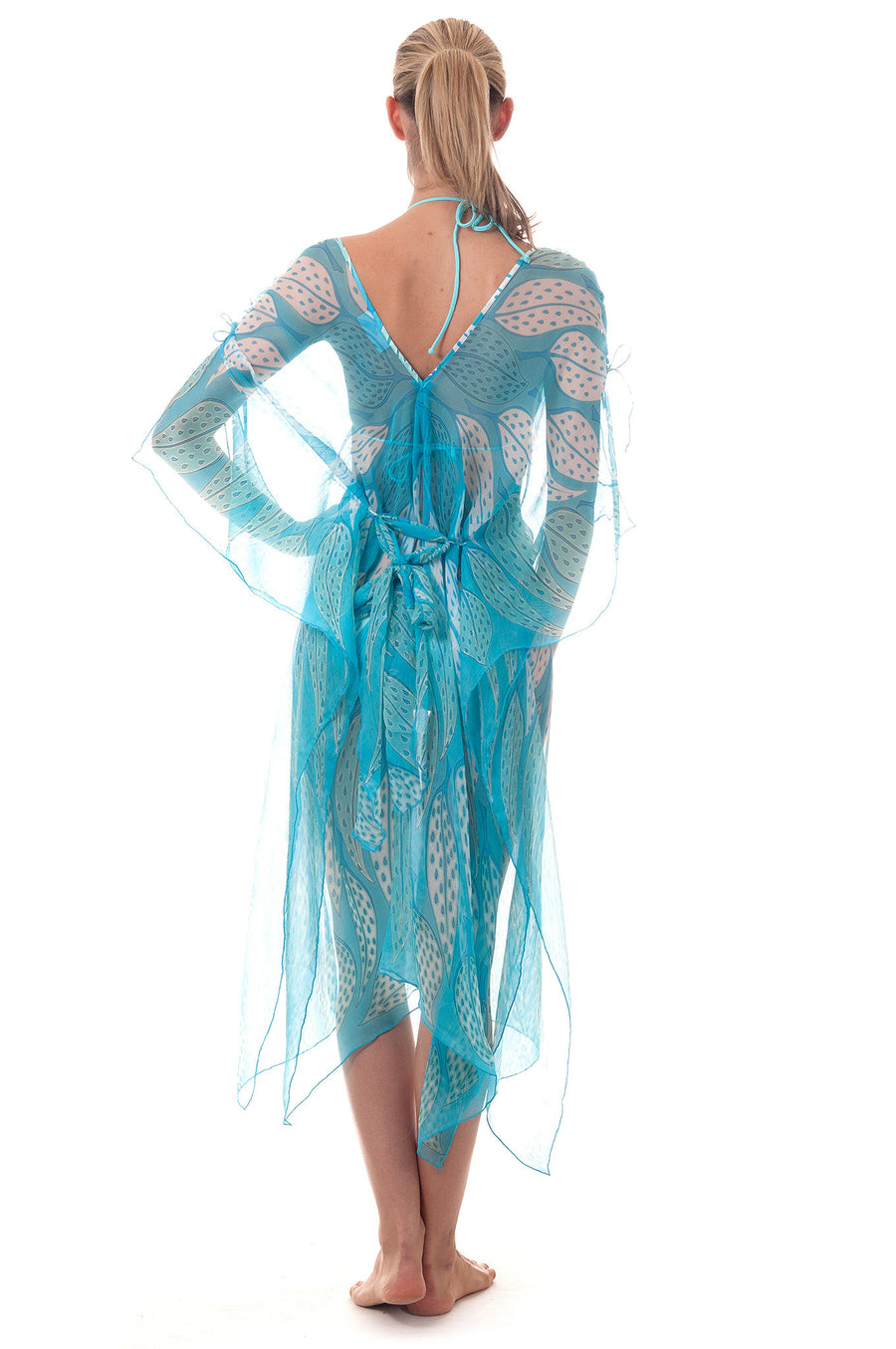 Lotty B ¾ Length Kaftan ~ Leaves (Turquoise) Front