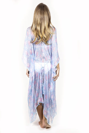 Lotty B 3/4 Length Kaftan Passion Fruit (Blue) Back