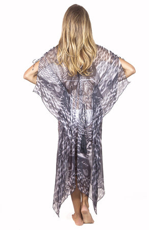 Lotty B 3/4 Length Kaftan in Chiffon (Shell Black/White) Back
