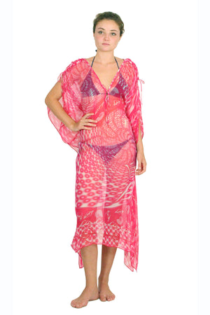 Lotty B 3/4 Length Kaftan in Chiffon (Shell Red)