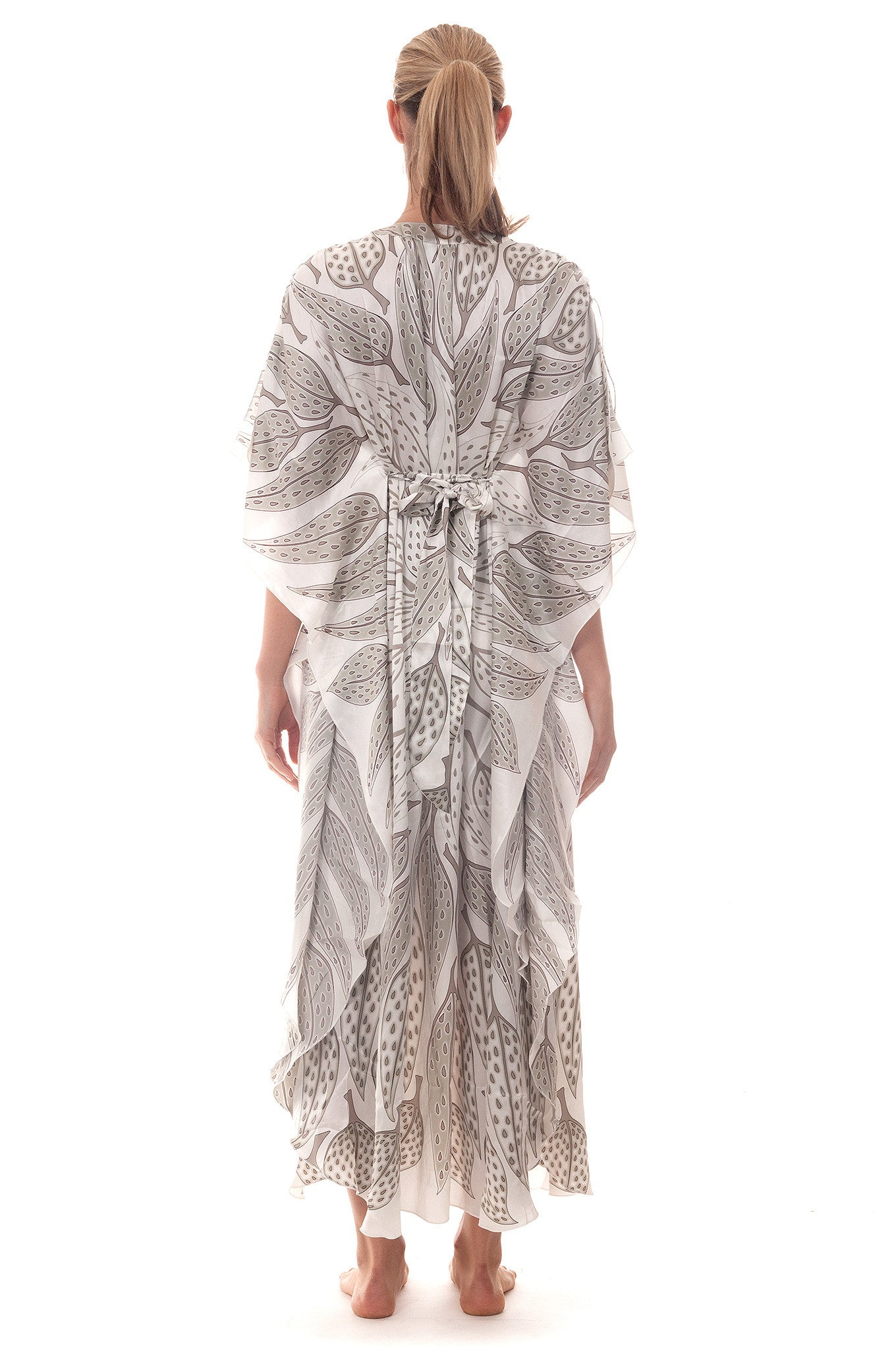 Lotty B Long Kaftan ~ Leaves (Lichen) Back