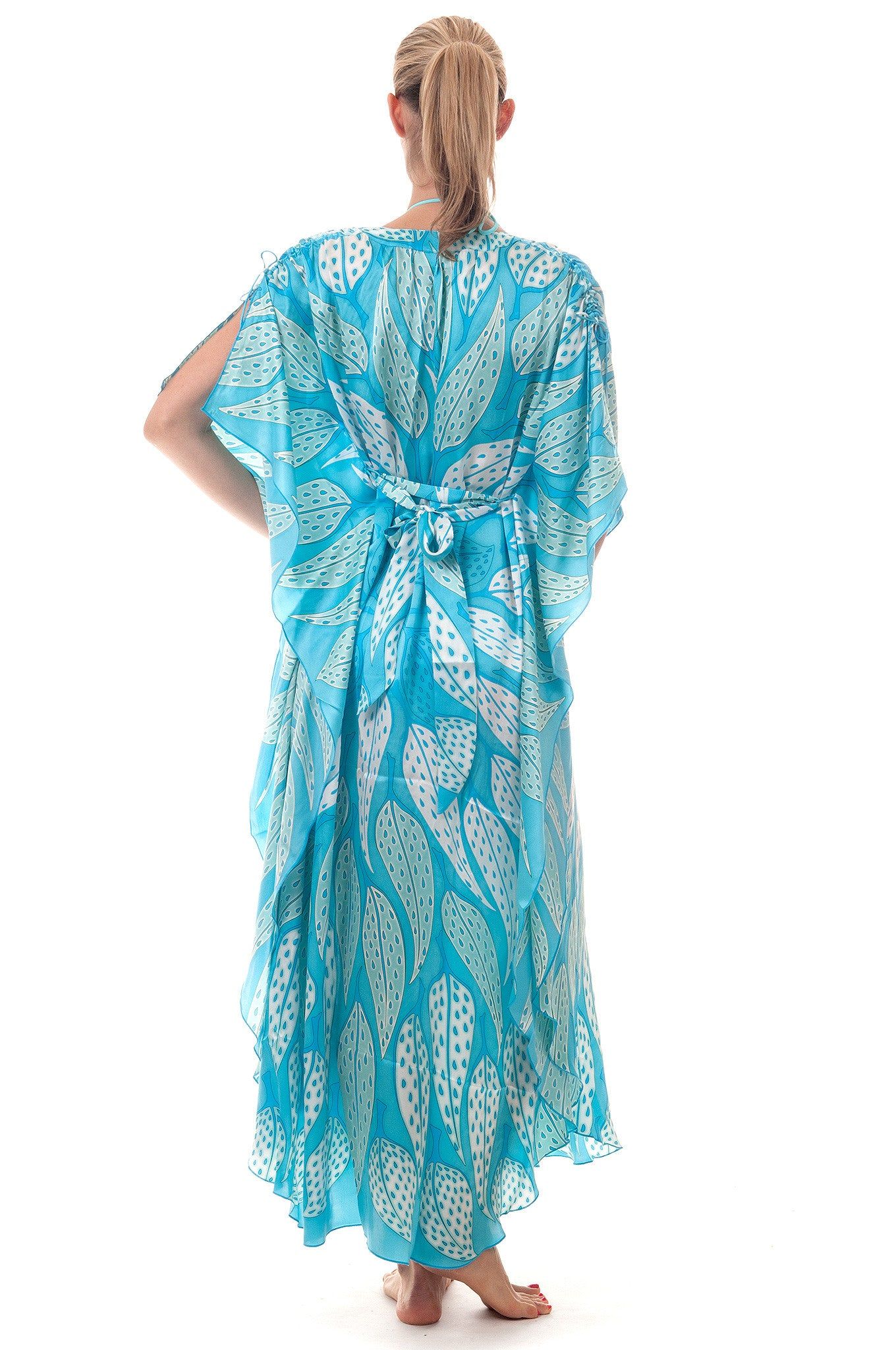 Lotty B Long Kaftan ~ Leaves (Turquoise) Back