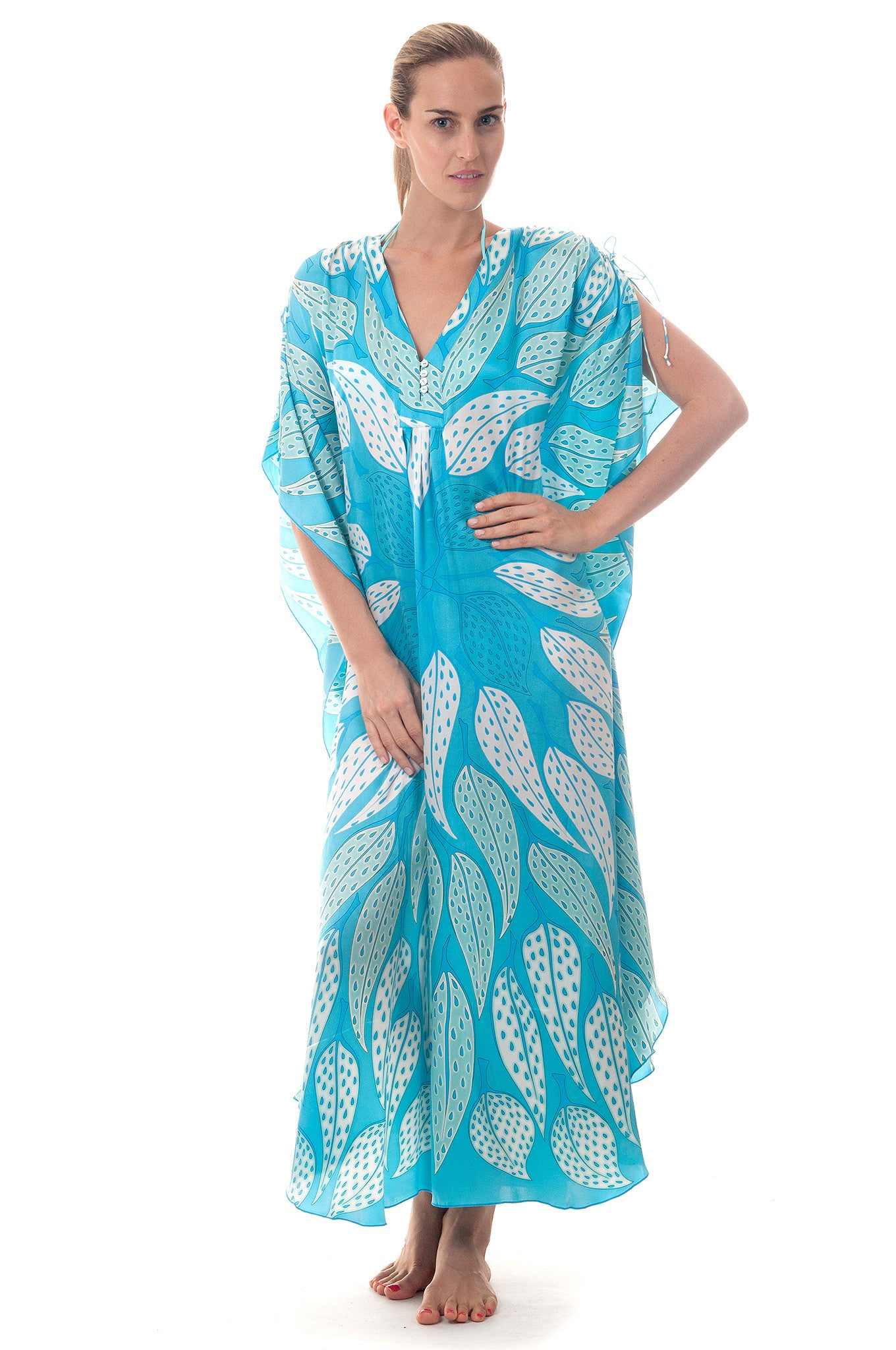 Lotty B Long Kaftan ~ Leaves (Turquoise) Front
