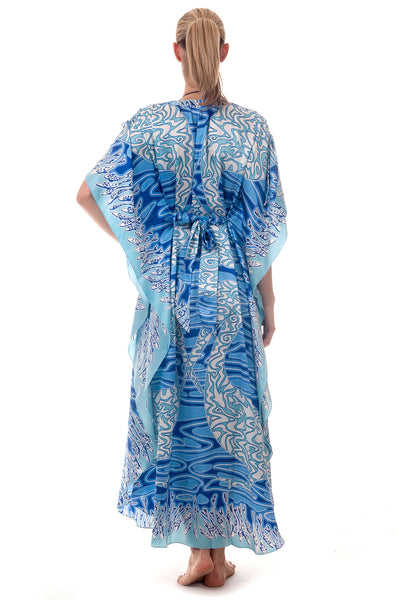 Lotty B Long Kaftan ~ Pelican (Blue) Back