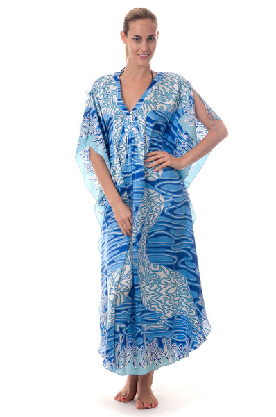 Lotty B Long Kaftan ~ Pelican (Blue) Front