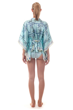 Lotty B Kaftan Top ~ Bamboo (Pale Blue) Back