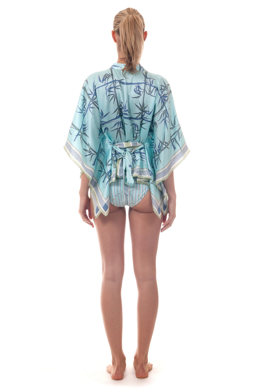 Lotty B Kaftan Top ~ Bamboo (Pale Blue) Front