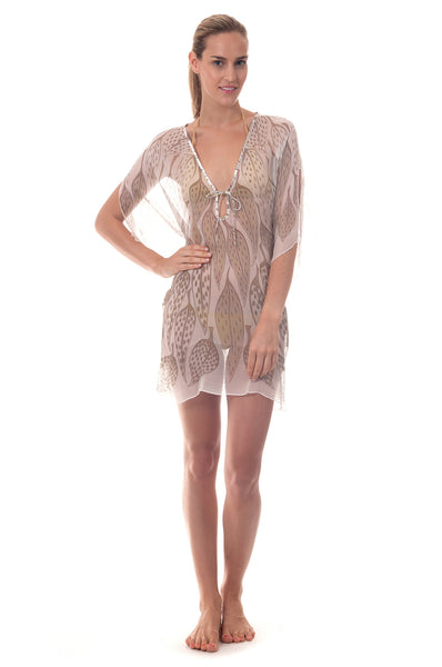 Lotty B Short Kaftan ~ Leaves (Lichen) Front