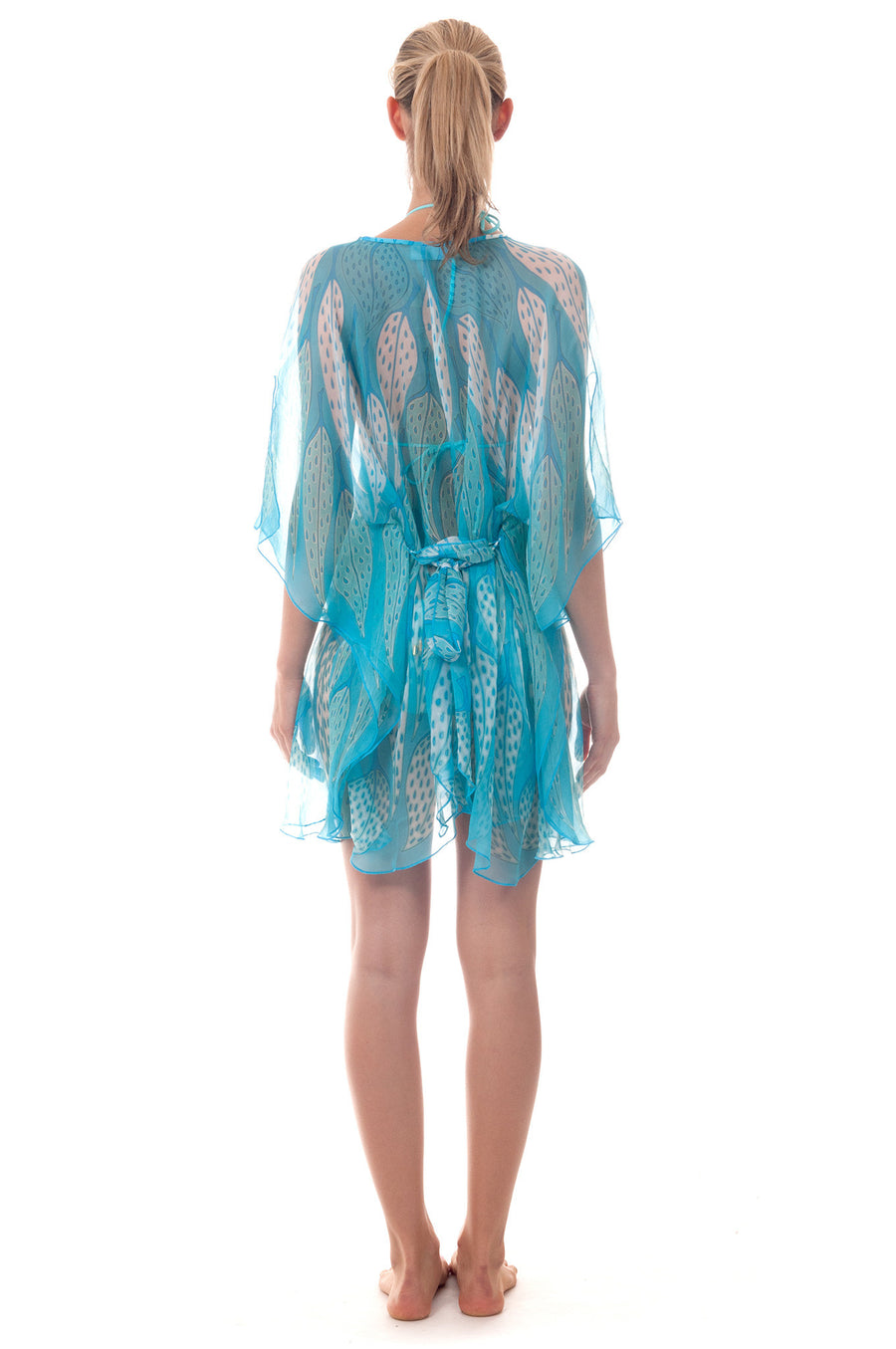 Lotty B Short Kaftan ~ Leaves (Turquoise) Front