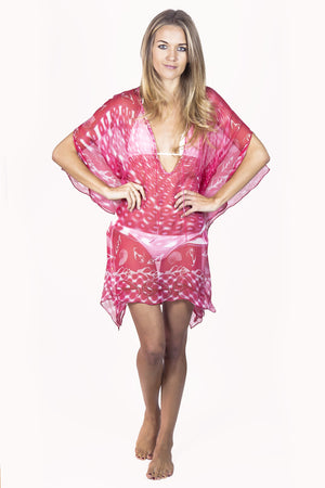 Lotty B Short Kaftan in Chiffon (Shell Red) Front