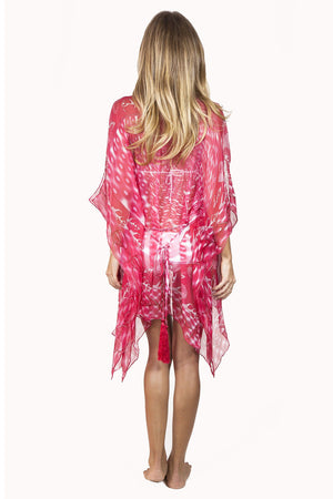 Lotty B Short Kaftan in Chiffon (Shell Red) Back