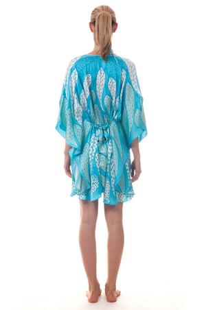 Lotty B Short Kaftan ~ Leaves (Turquoise) Back