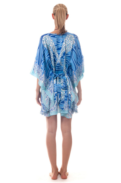 Lotty B Short Kaftan ~ Pelican (Blue) Back