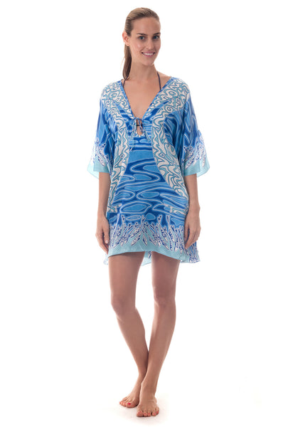 Lotty B Short Kaftan ~ Pelican (Blue) Front