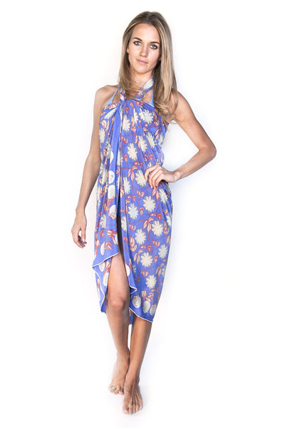 Lotty B Sarong in Silk Crepe-de-Chine (Passion Fruit Navy)