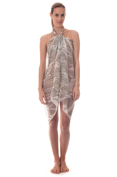 Lotty B Sarong in Chiffon ~ Leaves (Lichen) Front