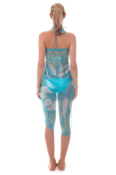 Lotty B Sarong in Chiffon ~ Leaves (Turquoise) Back
