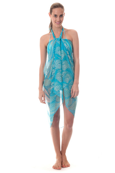 Lotty B Sarong in Chiffon ~ Leaves (Turquoise) Front