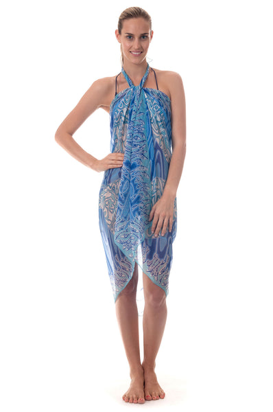 Lotty B Sarong in Chiffon ~ Pelican (Blue) Front